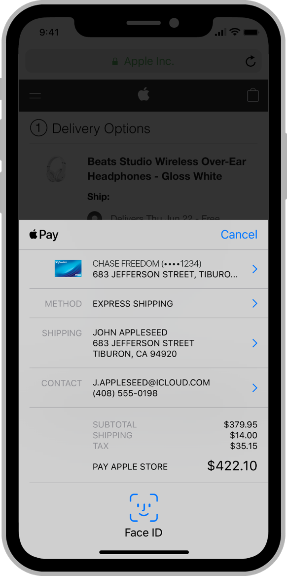 Screenshot of example payment in iOS