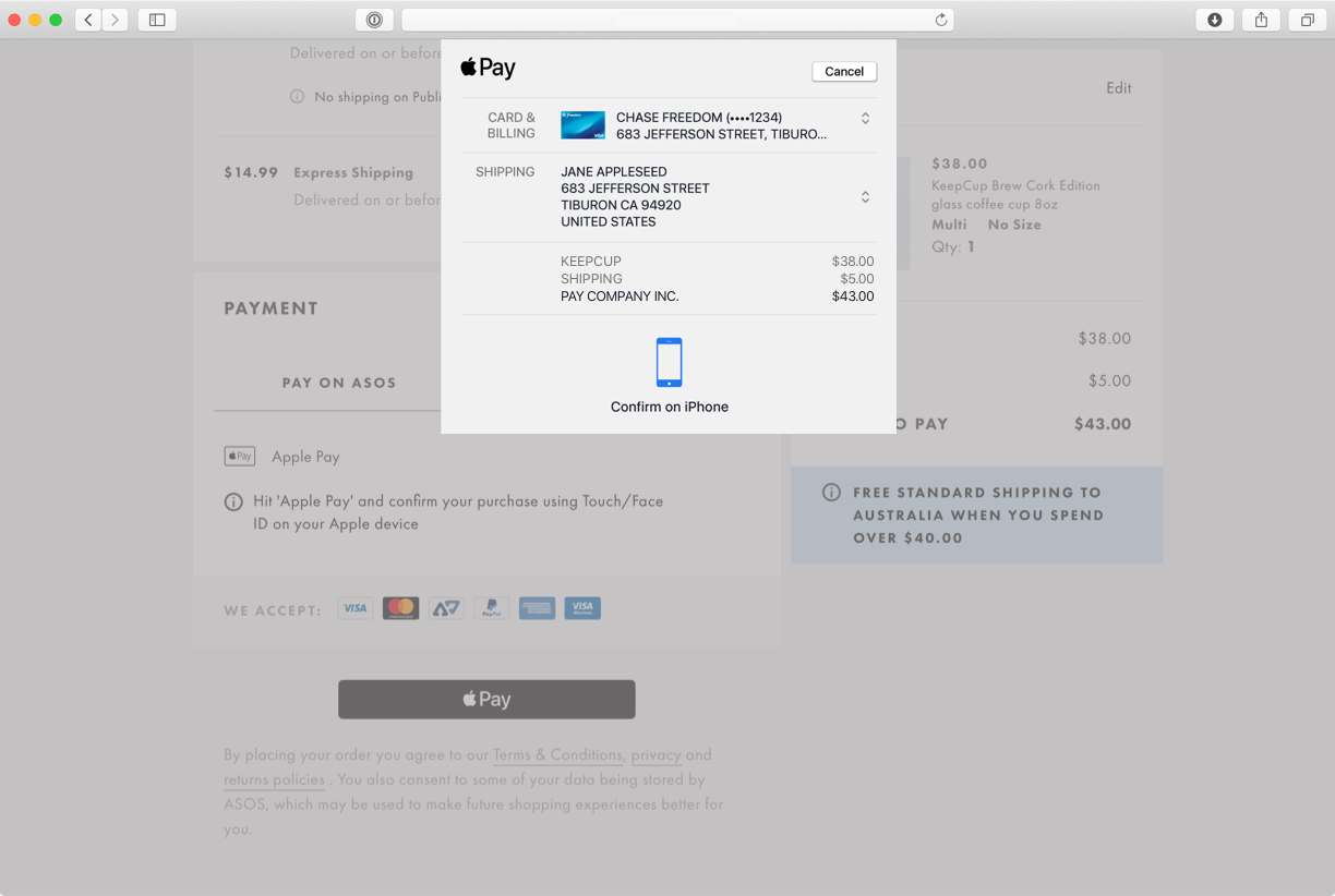 Screenshot of example payment in MacOS